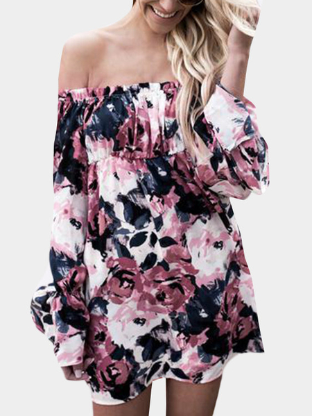 Sexy Random Floral Print Off Shoulder Mini Dress