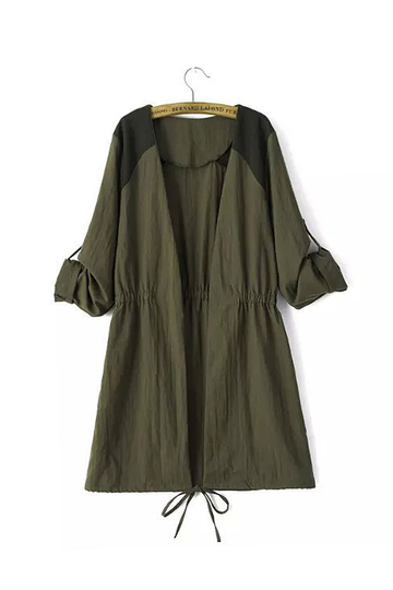 Drawstring Waist Tab Draped Sleeves Stitching Green Coat