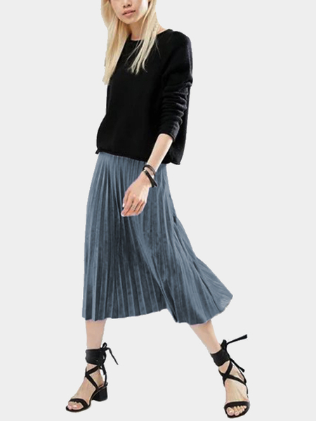 Grey Velvet High-waisted Pleated Design Midi Skirt