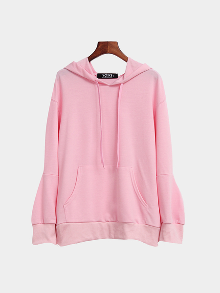 Pink Casual Cut Out Hoodie With Front Pocket