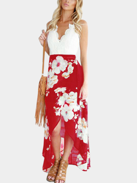 Red Wrap Front Random Floral Print Dress con Encaje Detalles