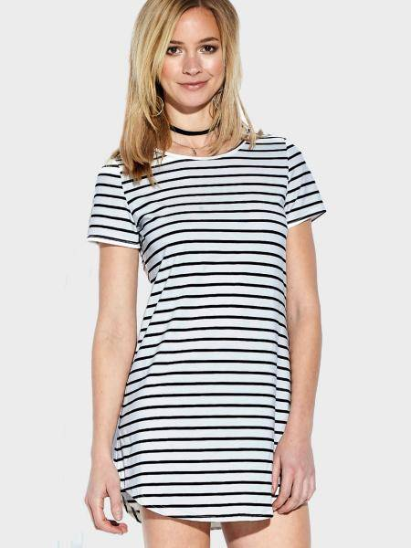 Casual Round Neck Short Sleeves Curved Hem Striped Mini Dress