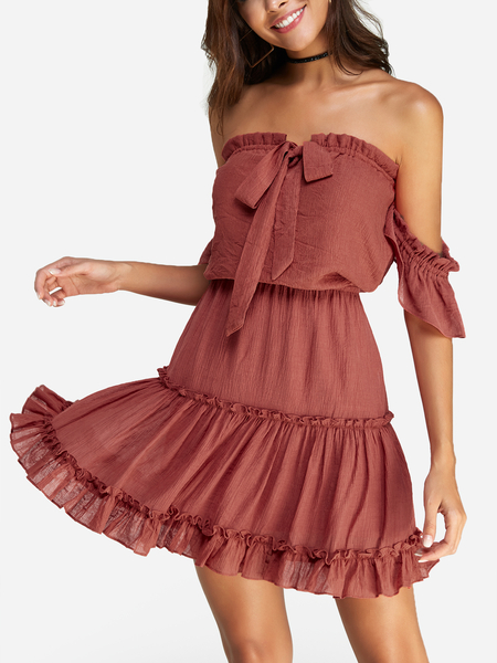 Rust Backless Design Plain Off The Shoulder Short Sleeves Mini Dress