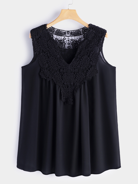 Black Lace Detail V-neck Sleeveless Tanks