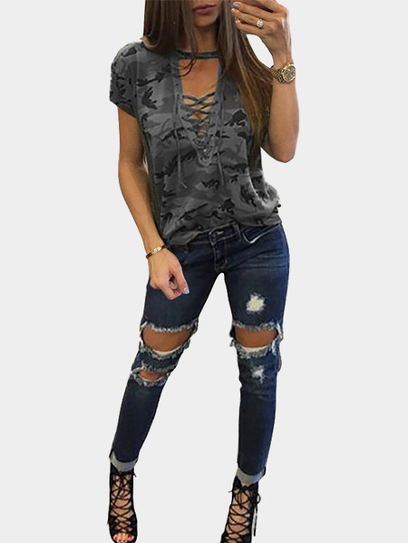 Grey Sexy Camouflage Pattern V-neck Lace-up Front T-shirt
