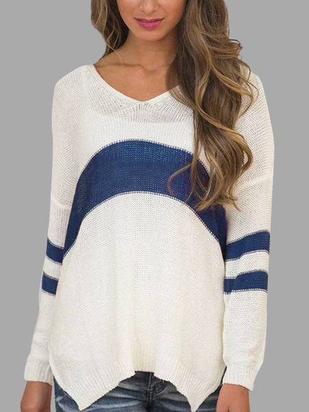Long Sleeves High Low Hem Patchwork Design Sweater
