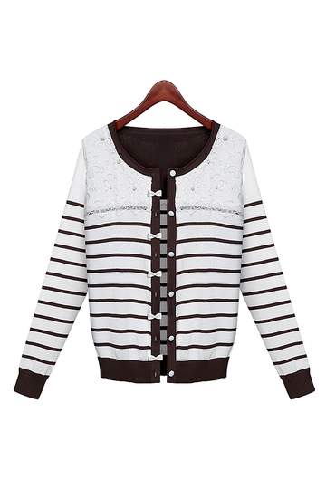 Plus Size Stripe Long Sleeve Knitted Cardigan