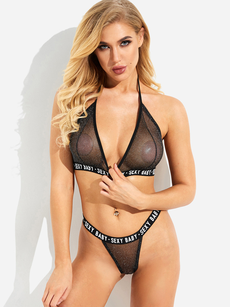 Black Halter V-neck Letter Design Lingerie Set
