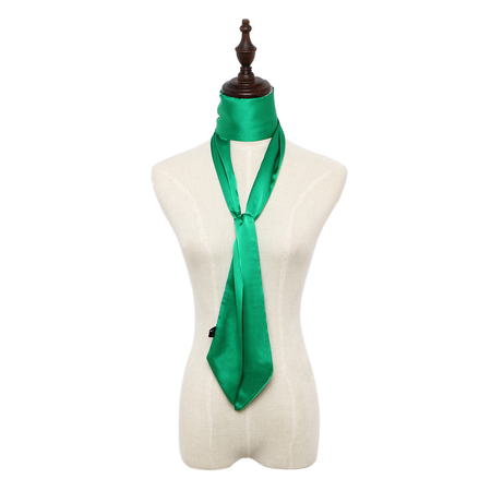 Silky-look Skinny Long Scarf in Green