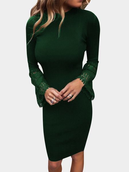 Green Crew Neck Stitching Lace Long Sleeves Sweater Dress