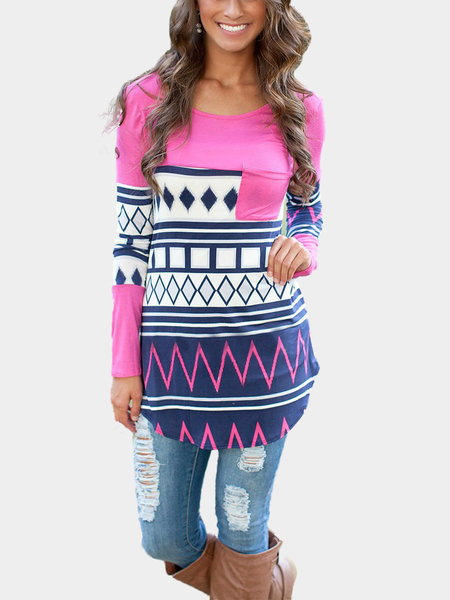 Curve Hem Geometrical Pattern Top