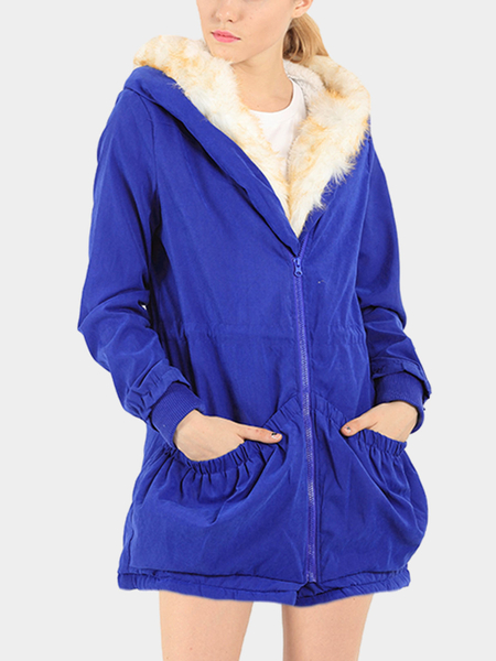 Blue Two Big Pockets Loose Padded Outerwear with Hood