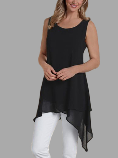 Black Sexy Round Neck Irregular Hem Cami Top