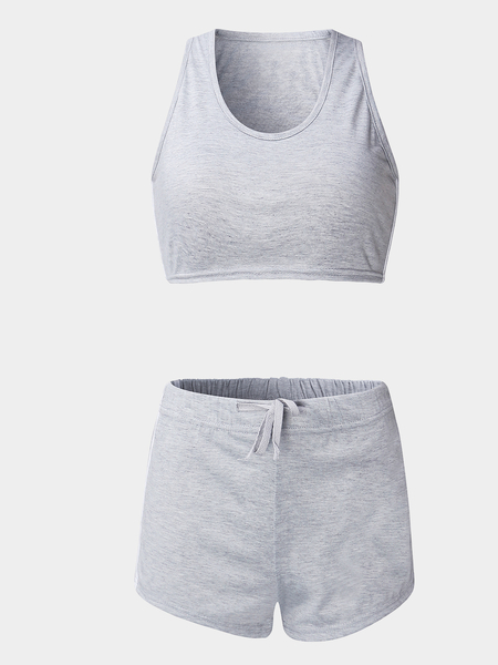 Grey Sexy Sleeveless Crop Top & Drawstring Waist Skorts Co-ord
