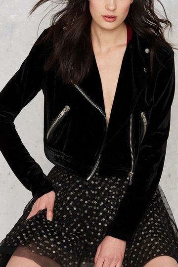 Black Velvet Fashion Long Sleeves Zipped Crop Jacket