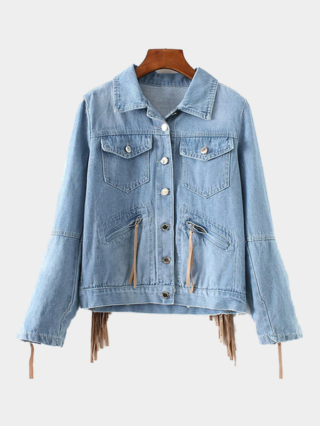 Light Blue Classic Collar Tassel Details Denim Jacket