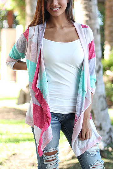 Waterfall Multi Color Jersey Cardigan