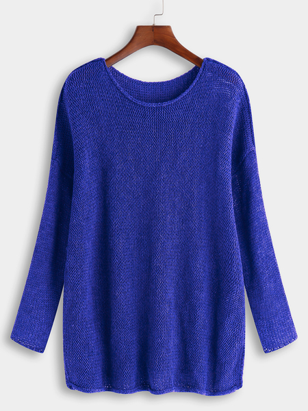 Blue Plain Round Neck Long Sleeves Loose Fit Sweaters
