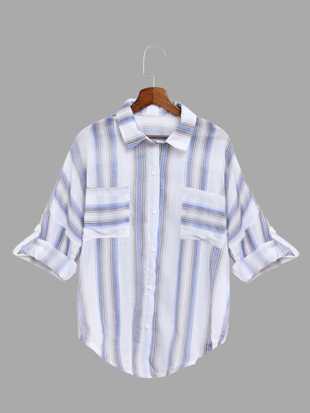 See-through Dark Blue Adjustable Sleeve Length Button Closure Stripe Shirt