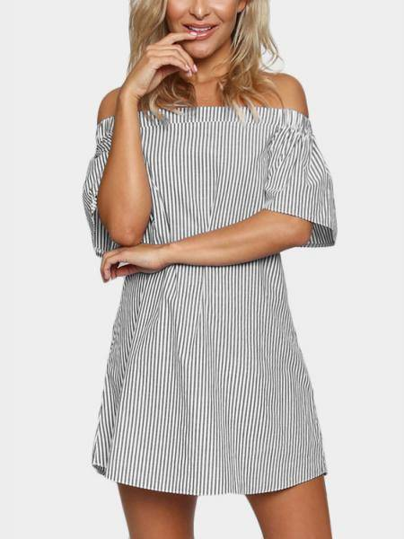 Pinstripe Off Shoulder Mini Dress