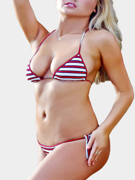 Red Sexy Stripe Pattern Adjustable Strap Triangle Bikini Set