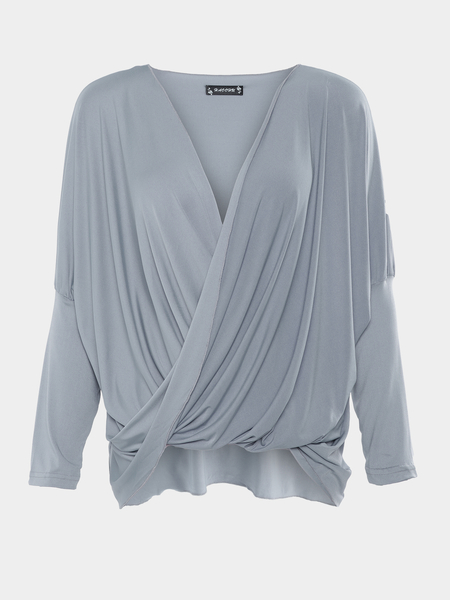 Grey Crossed Front Design V-neck Long Sleeves T-shirts