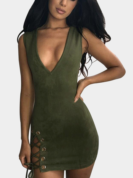 Army Green Lace-up Side Low Cut V-neck Suede Mini Dress