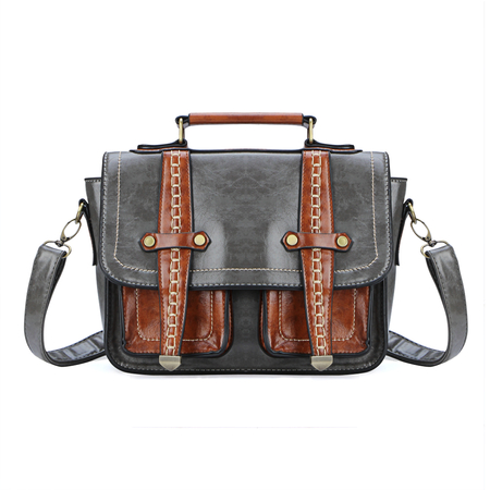 Grey Two Front Pockets Sac à bandoulière en cuir