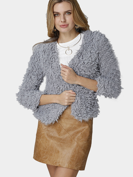 Grey Open Front Cape Manteau de fourrure en fourrure artificielle
