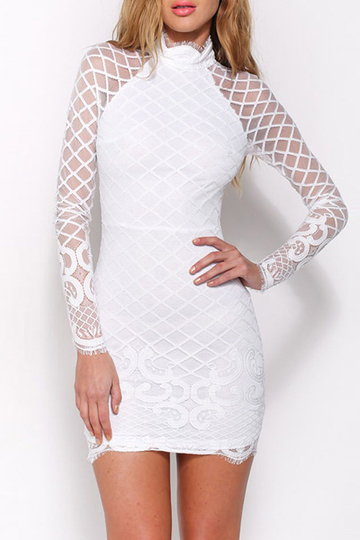 White High Neck Lace Details Long Sleeves Mini Dress with Zip Back Fastening