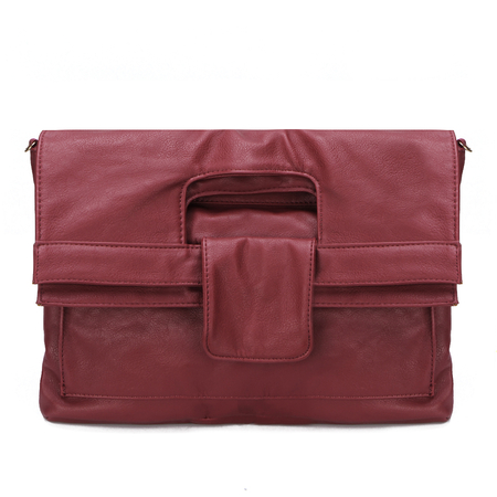 Red Leather-look Magnetic Closure Clutch Bag