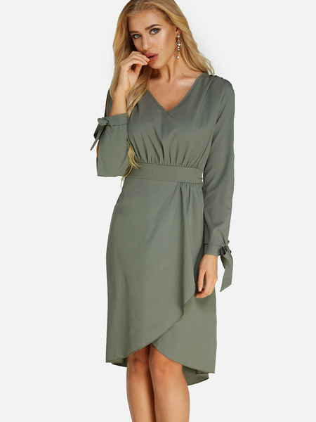Army Green Lace-up Design V-neck Cold Shoulder Irregular Hem Dress