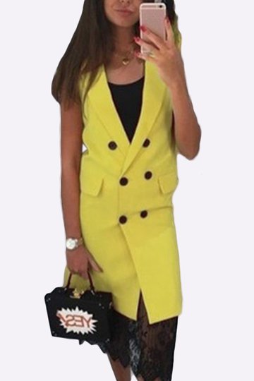 Yellow Fahsion Lapel Collar Gilet Outerwear With Double-breasted