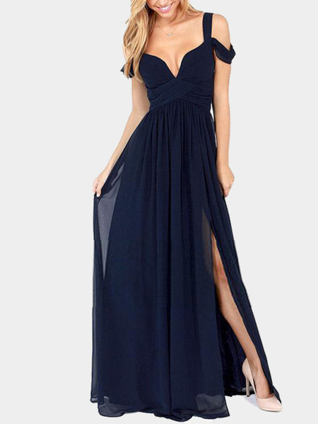 Sexy Navy Backless Kleid mit kaltem Schulter Design