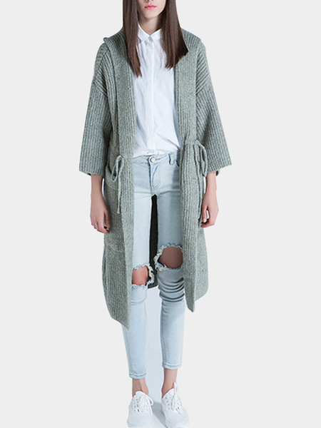Knitted Hooded Cardigan with Drawstring Waist in Green