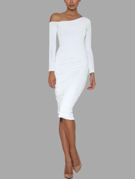 White Sexy One Shoulder Pleated Midi Bodycon Dress