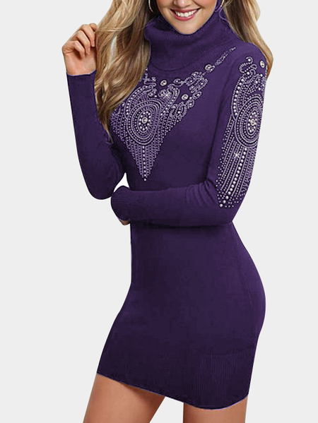 Purple Hot Drilling Turtleneck Bodycon Hem Mini Dresses