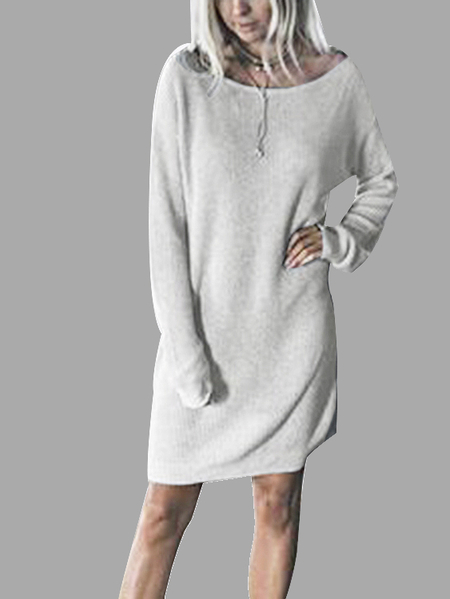 Casual Knitted Dolman Tee Dress in Grey