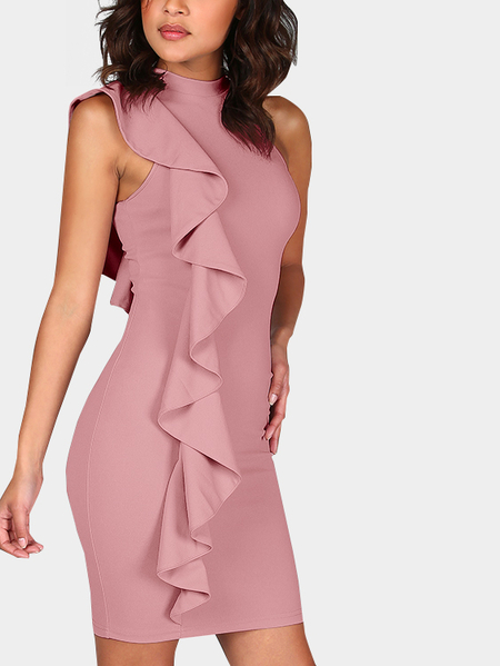 Pink Flouncy Details Round Neck Sleeveless Mini Dress