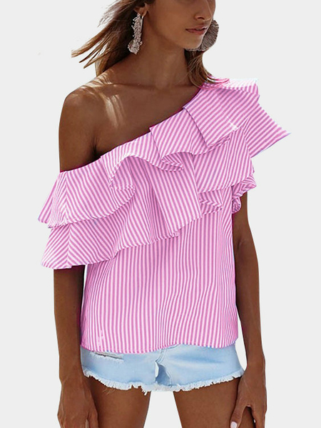 Pink Sexy Stripe Pattern One Shoulder Flouncy Detalhes Top