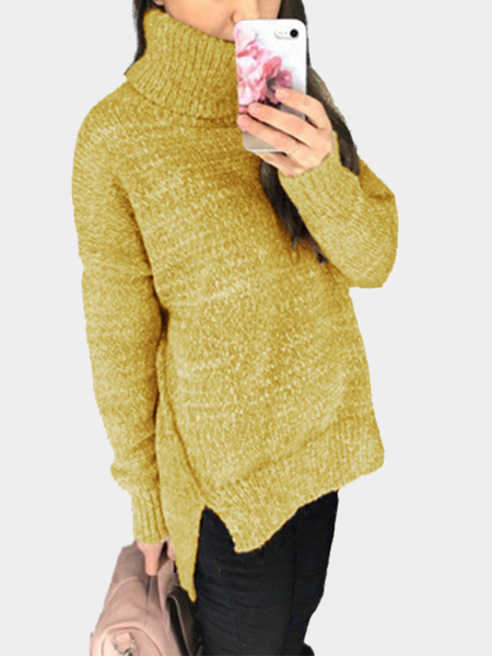 Mustard Oversize Knit Roll Neck Irregular Hem Sweater