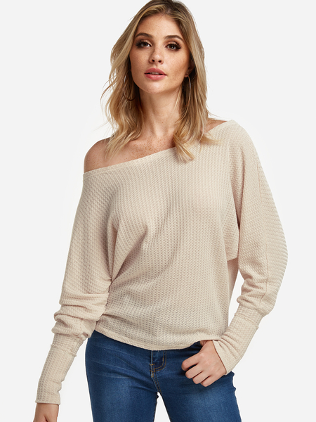 Beige Plain One Shoulder Long Sleeves Blouses