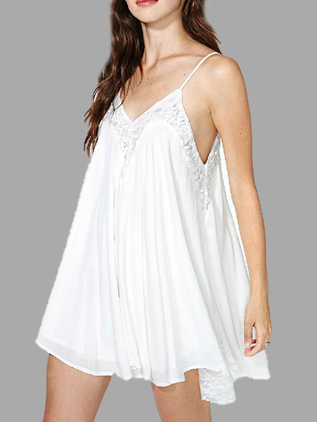 V-neck Lace Cami Mini Dress