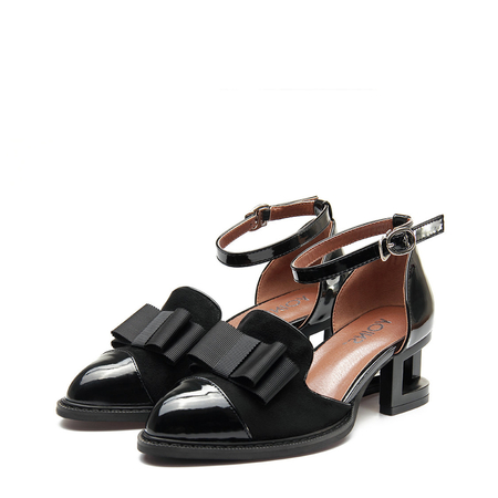 Black Leather and Suede Look Ankle Strap Hollow Heel Bowknot Shoes