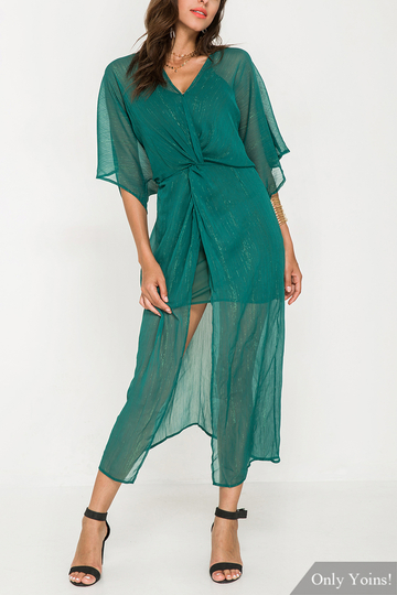 Chiffon Maxi Dress in Dark Green with A Slip