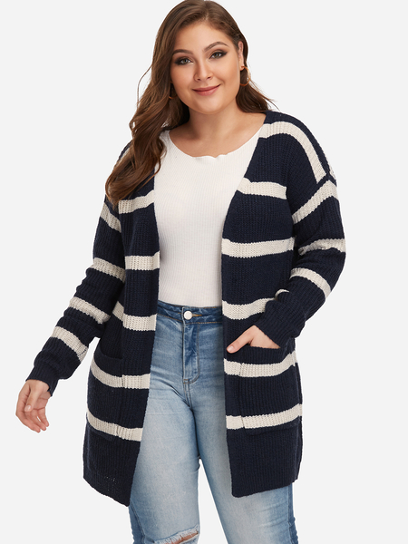Plus Size Dark Blue Stripe Pattern Open Front Knit Cardigan