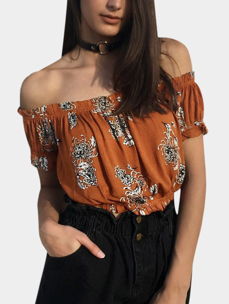 Rust Pleated Design Floral Print Off The Shoulder Short Sleeves Drawstring Waist Crop Top