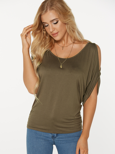 Army Green Scoop Neck Écharpe froide Tie-up at Back Tee