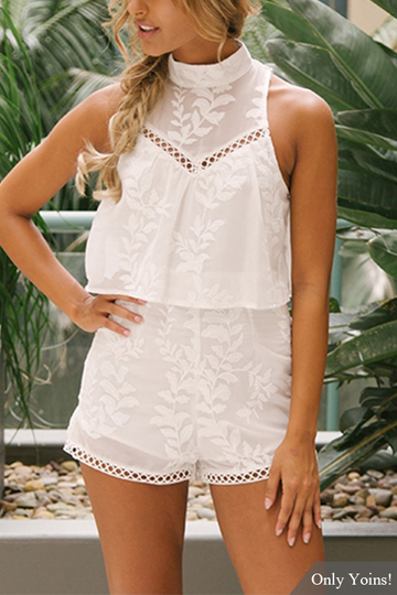 White Random Embroidery Cut Out Playsuit