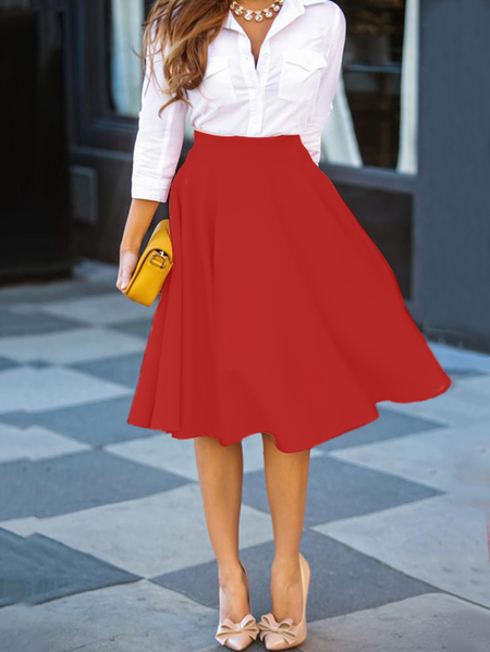 Red A Line High-waisted Skirt